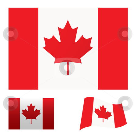 Canada flag set stock vector clipart, Illustrated collection of flag icon set for canada by Michael Travers