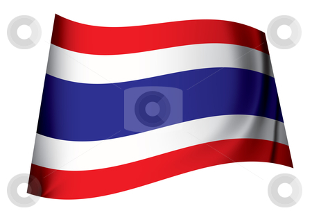 Thailand flag stock vector clipart, Flag of thailand icon symbol fluttering in the breeze with folds by Michael Travers