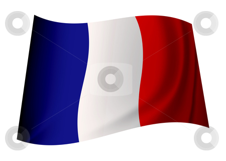 France flag stock vector clipart, French flag icon with tricolour red white and blue colours by Michael Travers