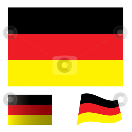 German flag set stock vector clipart, Illustrated collection of flag icon set for germany by Michael Travers