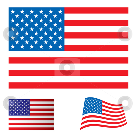 USA flag set stock vector clipart, Illustrated collection flag icon set for the united states of america by Michael Travers