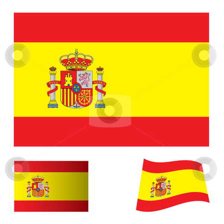 Spain flag set stock vector clipart, Spanish flag icon with red and yellow stripes and variation by Michael Travers