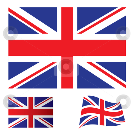 United kingdom flag set stock vector clipart, Illustrated collection of flag icon set for the United kingdom by Michael Travers