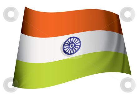 India flag stock vector clipart, Indian flag icon with orange and green stripes floating in the wind by Michael Travers