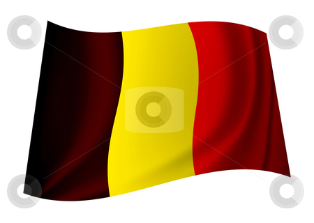 Belgium flag stock vector clipart, Belgium flag icon symbol flying in the wind with ripples by Michael Travers