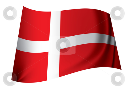Danish flag stock vector clipart, Red and white danish flag floating in the wind icon for denmark by Michael Travers