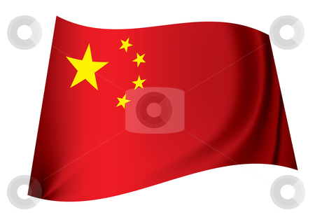 China flag stock vector clipart, Red flag with yellow stars representing peoples republic of china by Michael Travers