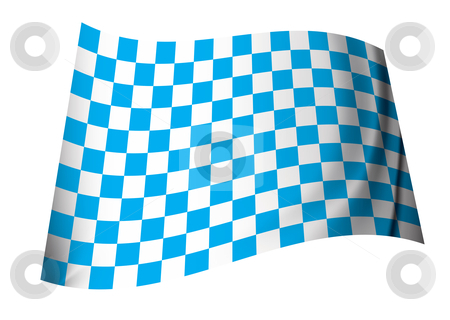 Blue checkered flag stock vector clipart, Blue and white motor racing inspired checkered flag icon by Michael Travers