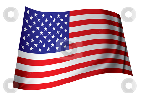 United states of america flag stock vector clipart, Red white and blue american flag from the united states with folds by Michael Travers