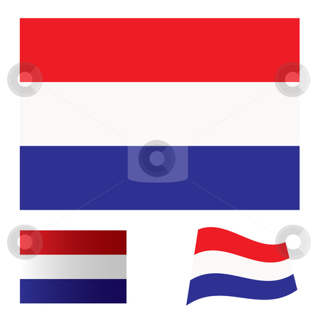 Netherlands flag set stock vector clipart, Illustrated collection of flag icon set for holland by Michael Travers