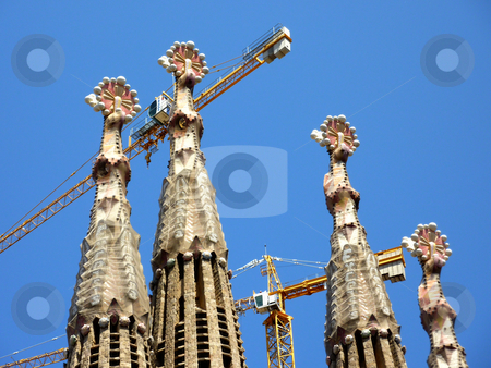 Towers of the Sagrada familia church, Barcelona, Spain stock photo, Towers and cranes of the Sagrada familia church by beautiful weather, Barcelona, Spain by Elenarts
