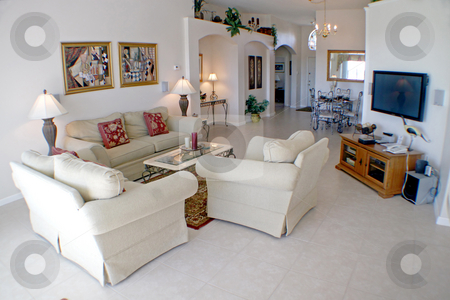 Living Room stock photo, An Interior Living Room in a Home. by Lucy Clark