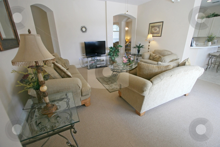 Living Room stock photo, An Interior Living Room in a Home by Lucy Clark