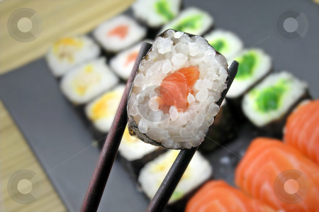 Sushi stock photo, Sushi and chopsticks by Charles Taylor