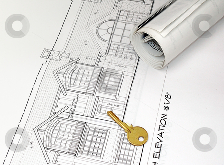 Plans stock photo, Plans and key by Charles Taylor