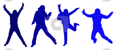Blue person jumping silhouettes stock vector clipart, Blue jumping silhouettes isolated on white background by Ioana Martalogu