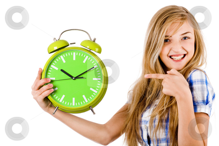 Young Girl point the alarm stock photo, Girl point the alarm and shows us the time on a white isolated background by Get4net