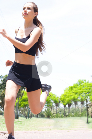 Woman running  stock photo, Young Fit and healthy woman running in a morning park by Get4net