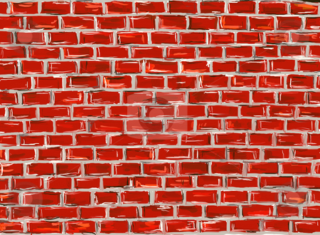 Brick wall stock photo, Hand painted brick wall to use as background - illustration by J?