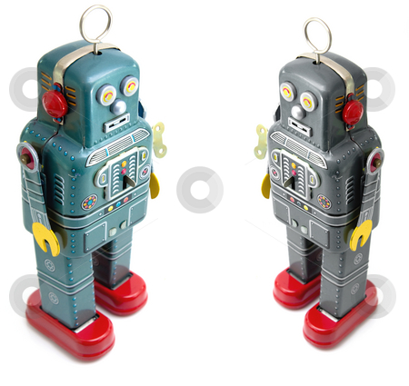 Robots stock photo, Two retro robot toys by Charles Taylor