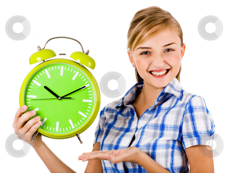 Young female model smiling stock photo, Attractive young model smiling and holding the clock on a white background by Get4net