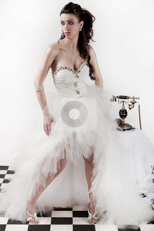 Traditional wedding dress stock photo, Beautiful brunette model wearing traditional wedding dress by Get4net