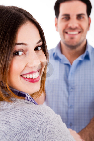 Close up of a smiling couple stock photo, Close up view of a couple in cheerful mood by Get4net