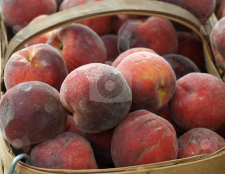 Peaches stock photo, Peaches in the basket at a mrket for sale by Tim Markley