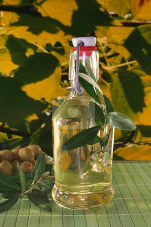 Olive oil stock photo, Olive oil with olive branch and fresh olives by Marén Wischnewski