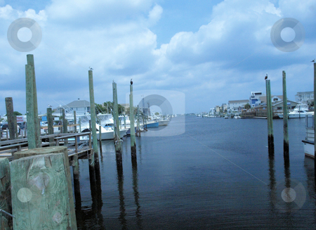 Boat dock stock photo, Boat dock waiting for the boats to come home by Tim Markley