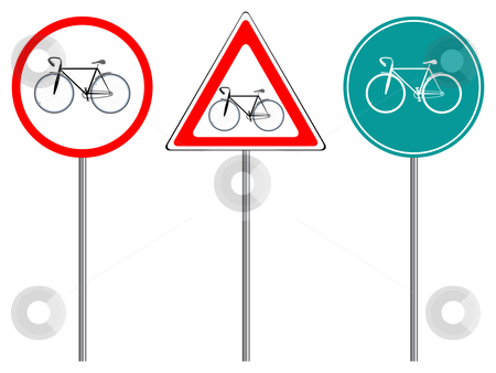 Bike traffic signs stock vector clipart, Bike traffic signs against white background, abstract vector art illustration by Laschon Robert Paul