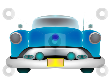 Blue classic car front isolated on white stock vector clipart, Blue classic car front isolated on white background, abstract art illustration; isolated layers objects, easy to modify colors by Laschon Robert Paul