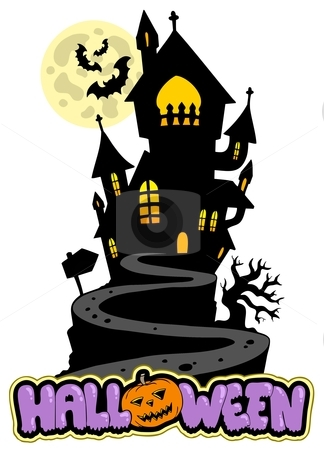 Halloween sign with house on hill stock vector clipart, Halloween sign with house on hill - vector illustration. by Klara Viskova
