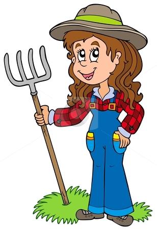 Cute farm girl stock vector