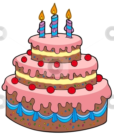 Big Cartoon Birthday Cake Stock Vector
