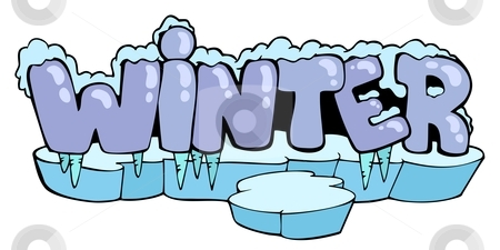 Cartoon winter sign stock vector clipart, Cartoon winter sign - vector illustration. by Klara Viskova