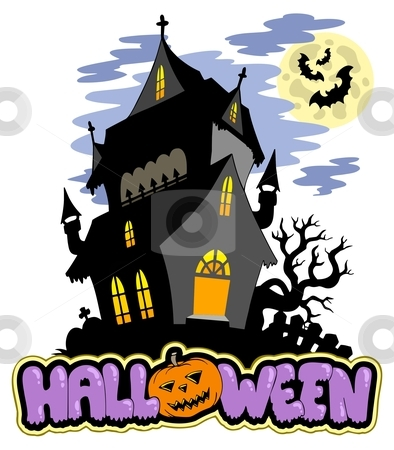 Halloween sign with haunted mansion stock vector clipart, Halloween sign with haunted mansion - vector illustration. by Klara Viskova