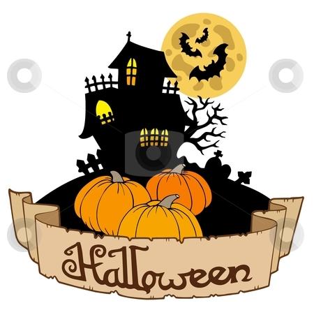 Haunted house with Halloween banner stock vector clipart, Haunted house with Halloween banner - vector illustration. by Klara Viskova