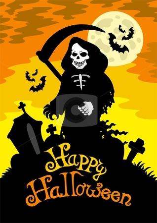 Halloween theme with grim reaper stock vector clipart, Halloween theme with grim reaper - vector illustration. by Klara Viskova