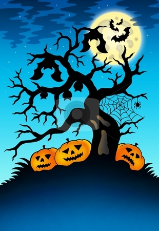 Spooky tree with bats and pumpkins stock photo, Spooky tree with bats and pumpkins - color illustration. by Klara Viskova