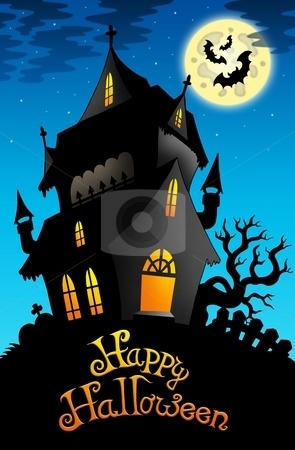 Happy Halloween sign with old house stock photo, Happy Halloween sign with old house - color illustration. by Klara Viskova