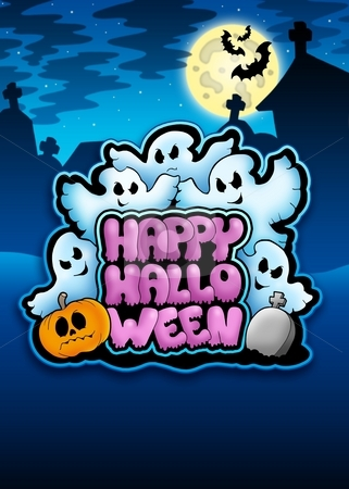 Happy Halloween sign with ghosts stock photo, Happy Halloween sign with ghosts - color illustration. by Klara Viskova
