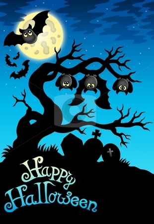 Happy Halloween sign with bats stock photo, Happy Halloween sign with bats - color illustration. by Klara Viskova