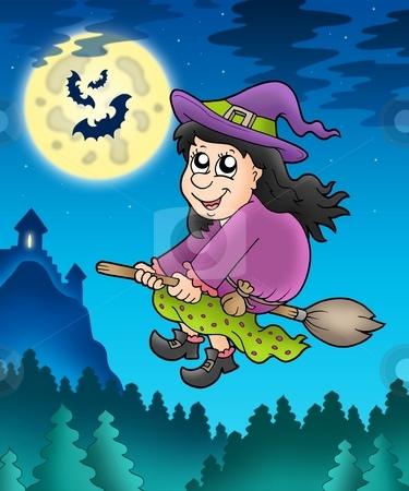 Cute witch on broom near castle stock photo, Cute witch on broom near castle - color illustration. by Klara Viskova