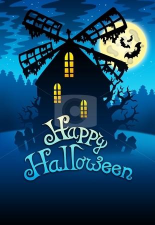Mysterious Halloween mill 1 stock photo, Mysterious Halloween mill 1 - color illustration. by Klara Viskova