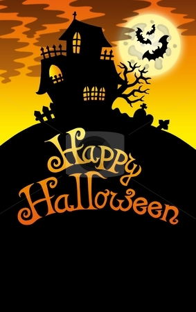 Halloween image with old house 2 stock photo, Halloween image with old house 2 - color illustration. by Klara Viskova