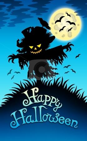Halloween image with scarecrow stock photo, Halloween image with scarecrow - color illustration. by Klara Viskova