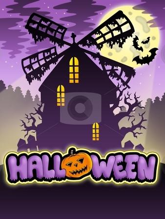 Mysterious Halloween mill 2 stock photo, Mysterious Halloween mill 2 - color illustration. by Klara Viskova