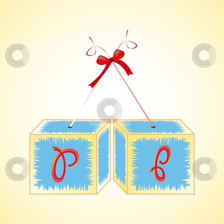 Cubes alphabet P stock vector clipart, Cubes alphabet P, abstract art illustration by Laschon Robert Paul