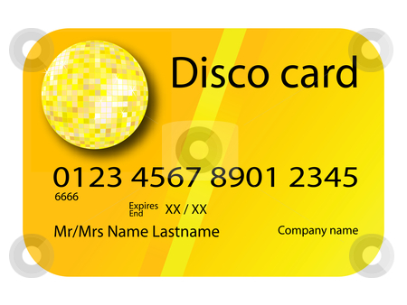 Credit card disco yellow stock vector clipart, Credit card disco yellow, vector art illustration; more credit cards in my gallery by Laschon Robert Paul